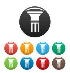 Fluted column icons set color vector