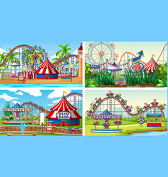 Four scenes with many rides in fun fair vector