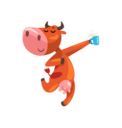 Funny brown cow with cup of milk having fun farm vector