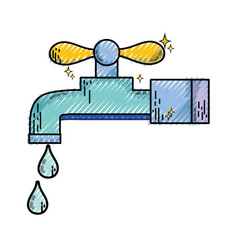 Grated clean metal faucet with water drops vector