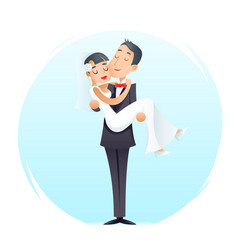 groom holds cute bride on arms vintage happy vector image