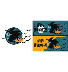 halloween witch flying on broom at night vector image