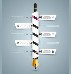 ink pen education icon business infographic vector image