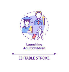 Launching adult children concept icon vector