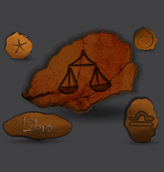 librazodiac in the form of cave painting vector image