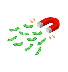 Magnet is attracting money towards itself vector