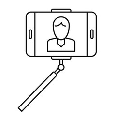 man take selfie monopod icon outline style vector image