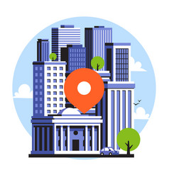 map location pin on city landscape of downtown vector image