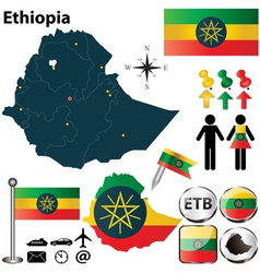 Map of Ethiopia vector image vector image