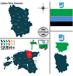 Map of laane viru estonia vector