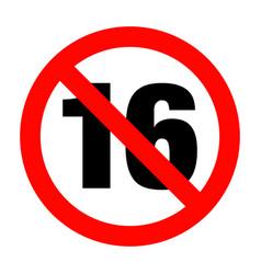 no under sixteen entry badge vector image