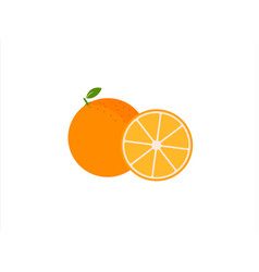 orange fruit with leaf and sliceblack vector image