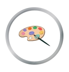 Painting palette with paintbrush icon in cartoon vector image