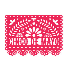Papel picado greeting card with floral and vector