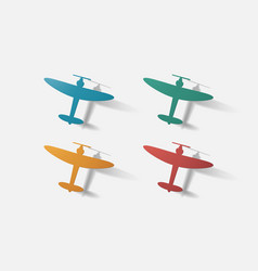 Paper clipped sticker aircraft plane vector