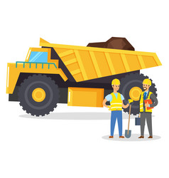 people work on quarry lorry with cargo mining vector image