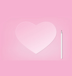 pink heart with white pencil vector image