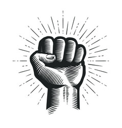 Raised up clenched fist sketch vector