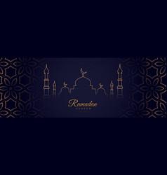 Ramadan kareem arabic festival banner in line vector