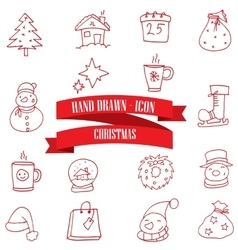 Red icons christmas theme collection vector