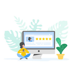 review concept woman writing good feedback vector image