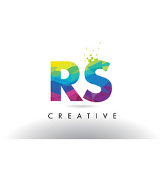 Rs r s colorful letter origami triangles design vector
