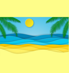 Sea waves and beach cut from paper vector