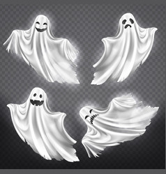 Set of white ghosts halloween monsters vector