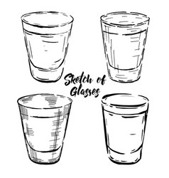 set stemware glasses vector image