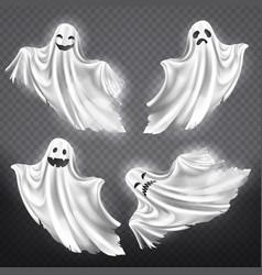 Set white ghosts halloween vector