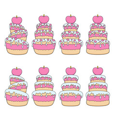 set with pink and white cakes vector image