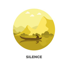 silence template on logotype with isolated man in vector image
