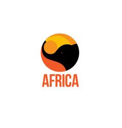 silhouette africa elephant logo vector image