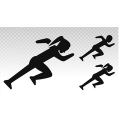 Silhouette man or woman running sprinting flat vector