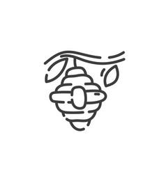 Simple line art icon wild beehive vector