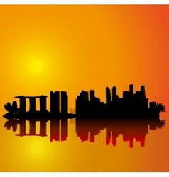 Singapore skyline Black silhouette vector
