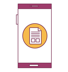 Smartphone device with document isolated icon vector