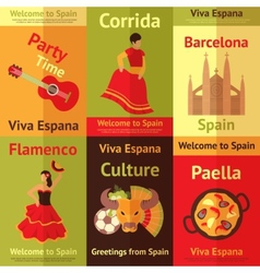Spain retro posters set vector image