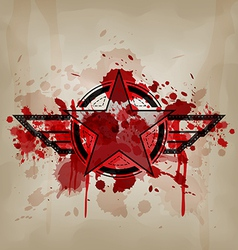Star symbol with blood war concept vector