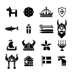 Sweden travel icons set simple style vector