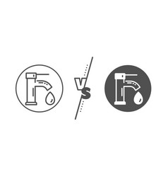 Tap water line icon faucet with aqua drop sign vector