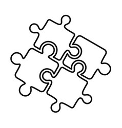 Teamwork solution puzzle icon outline style vector
