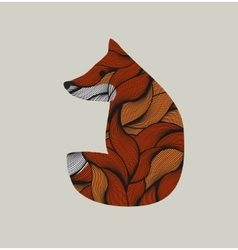 Textured little fox vector