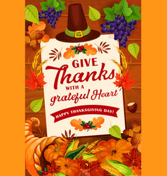 thanksgiving day autumn holiday greeting card vector image