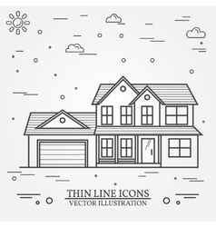 thin line icon suburban american house vector image