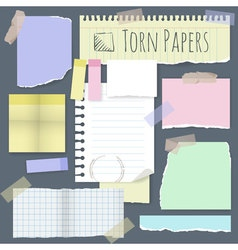 Torn note papers design element set vector image