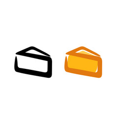 triangle part of cheese - logo emblem vector image