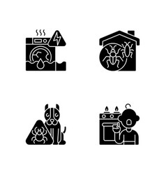 Unsafe home situations black glyph icons set on vector