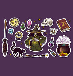Vintage halloween elements stickers magic ball vector