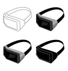 Virtual reality headset icon in cartoon style vector